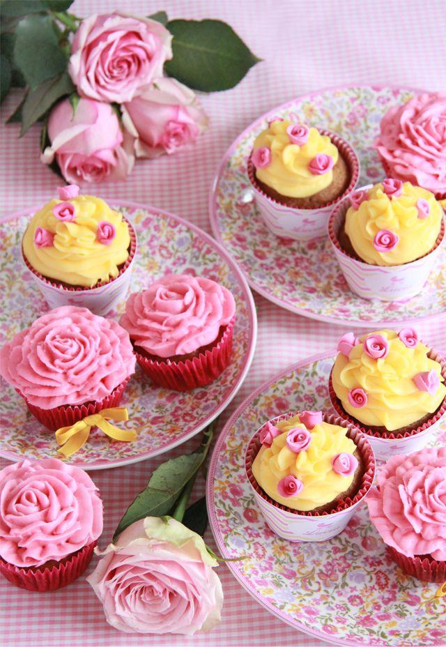 cupcakes amarillo y rosa