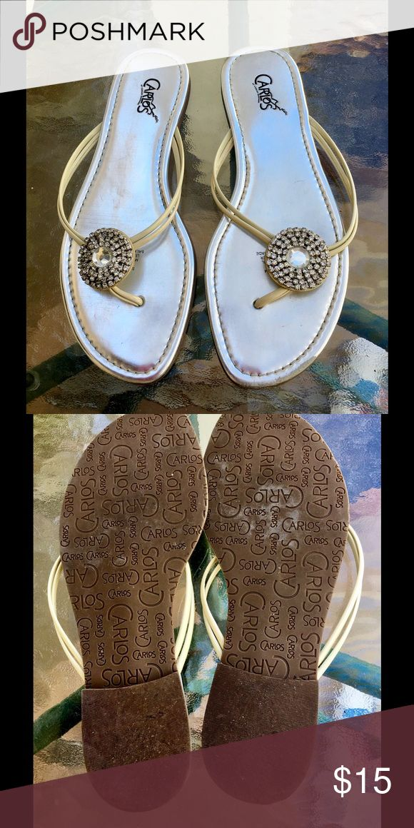 Carlos Santana Silver Thong Sandals Sparkle silver leather embellished with rhinestones. Made in Brazil. Slip-on flat thongs. Eye catching! Great condition! Carlos Santana Shoes Sandals