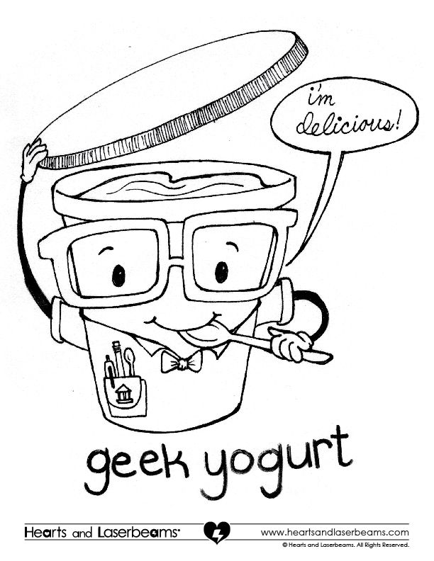 Geek yogurt coloring contest hearts and laserbeams for Geek coloring pages