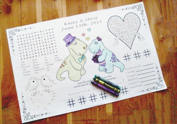 Just as your youngsters would do when you head out to a restaurant, marking kids' table seating with colouring placemats and crayons is an easy way to keep kids entertained at weddings.