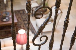 Tuscan Hammered: Iron Stair Railing, Wrought Iron Stair Railing ...