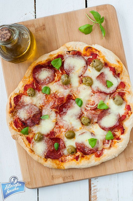 Pizza with Salami, Olives and Mozzarella
