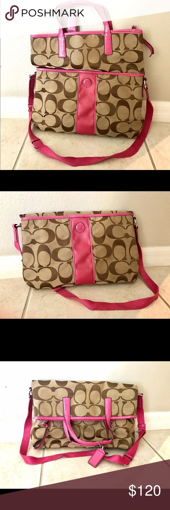 NWOT Flip over style Coach purse.. Perfect versatile purse.  It can carry a laptop or you can fold it over like a medium sized crossover purse.  Authentic, and absolutely perfect! You'll love the variations you have with this purse! Coach Bags Crossbody Bags