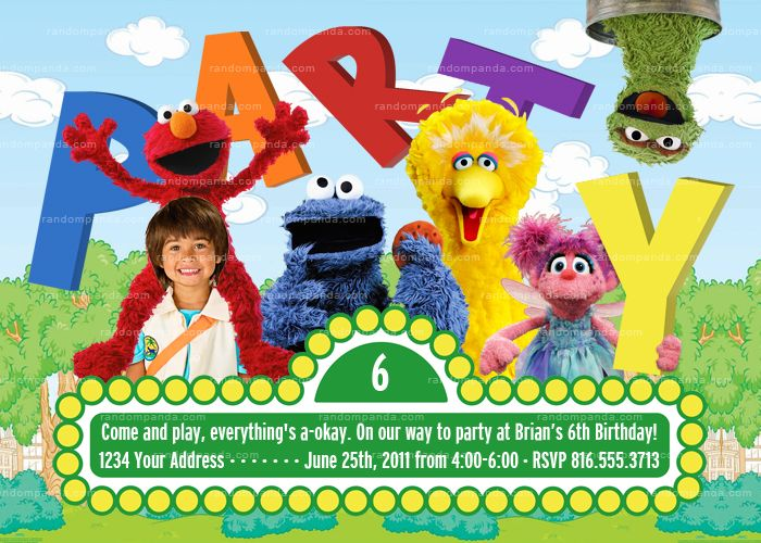 Personalize Sesame Street Invitation Elmo Birthday Invite Party