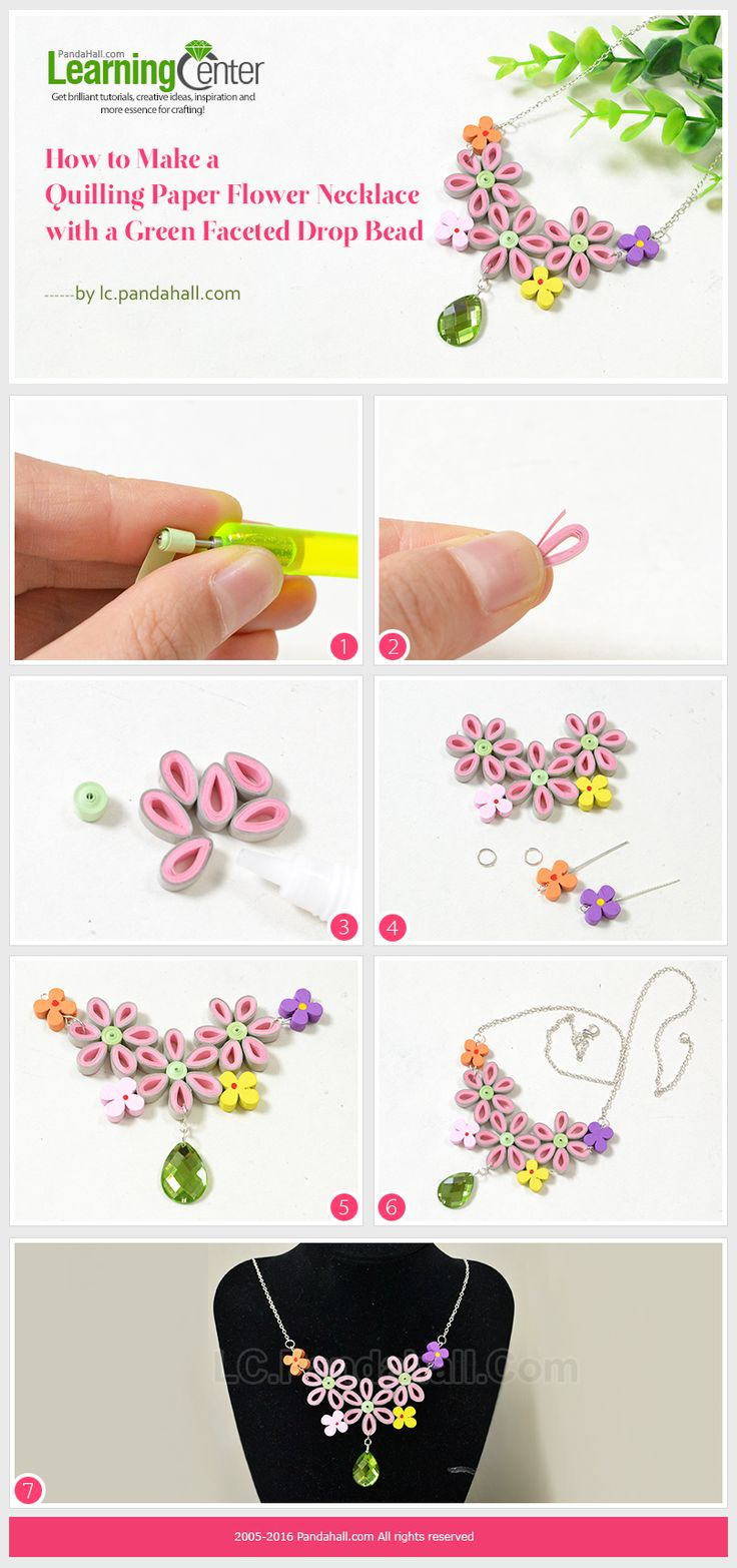 How to Make a Quilling Paper Flower Necklace with a Green Faceted Drop Bead