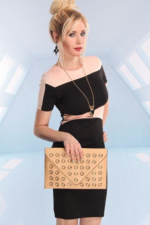 Black Short Sleeve Sheath Dress #peach #contrast #officedress #workdress #cocktaildress