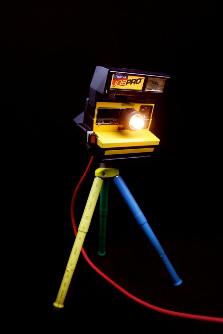 Converted Polaroid camera - desk lamp.  Polaroid Job Pro 80S/90S Desklamp - www.neilshy.com