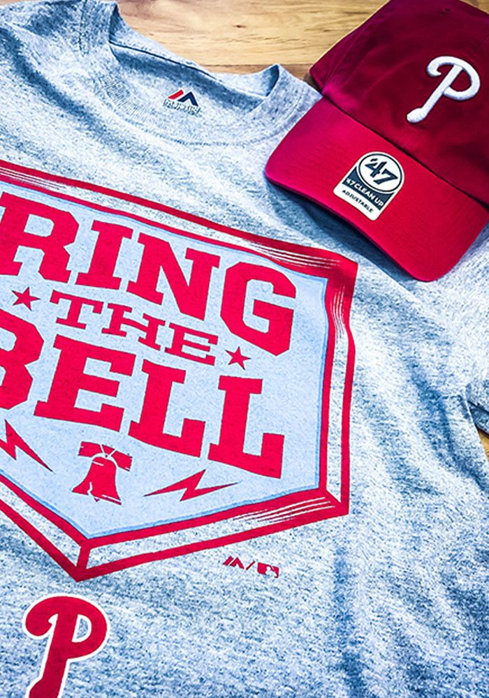 a21df756 Majestic Philadelphia Phillies Mens Grey Ring The Bell Short Sleeve T Shirt  - Show off your team pride in this Philadelphia Phillies Grey Ring The Bell  ...
