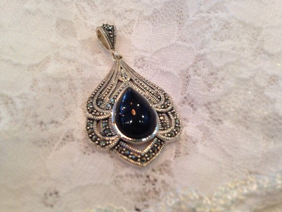 91 best marcasite jewelry images on pinterest marcasite jewelry marcasite sterling silver onyx dangle pendant aloadofball Image collections