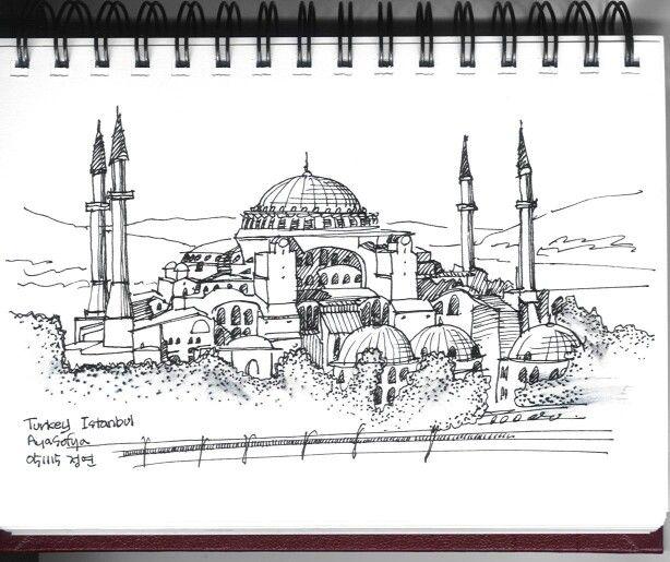 Hagia Sophia, Istanbul, Turkey / sketch by Joungyeon, Bahk ...