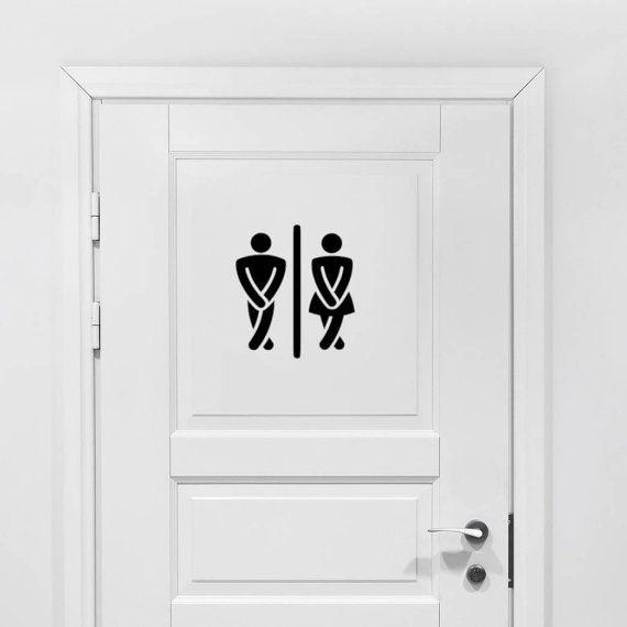 Badkamer Vinyl Decal - badkamer Decor, mannelijke vrouwelijke badkamer, gekruiste benen toilet Decal, mannen vrouwen badkamer Vinyl, badkamer Sticker 9 x 8