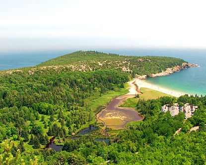 Acadia National Park, Maine, USA. With a fantastic location along the rugged coastline, Acadia National Park Maine encompasses more than 47,000 acres of majestic mountains, vast woodlands, crystal clear lakes and a spectacular shoreline.