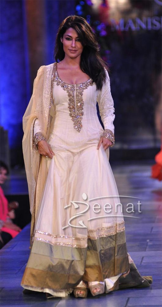 Chitrangada Singh In Manish Malhotra Dress. White and gold.
