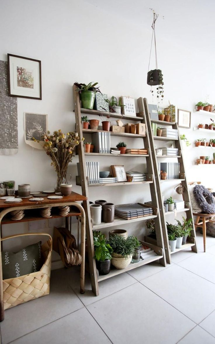 Love this fun shelving with lots of plants and interesting textures