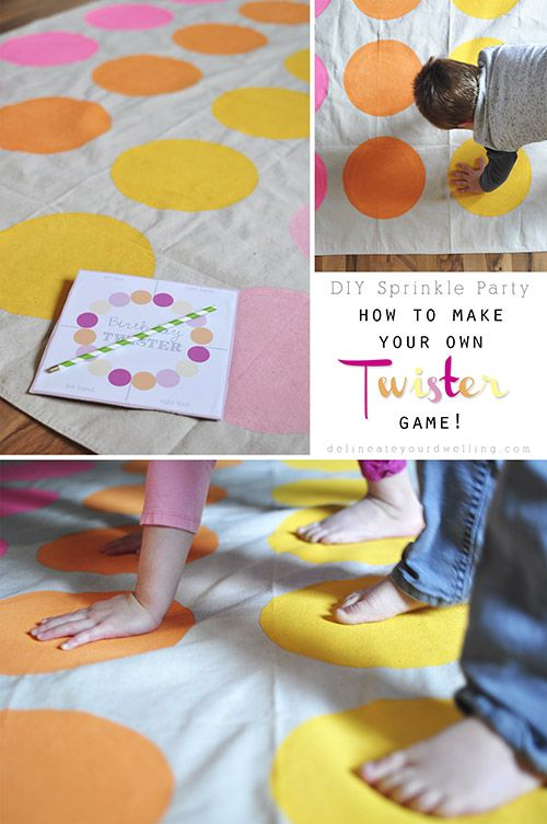 How to make a customized DIY Twister game for a Sprinkle birthday party! Delineateyourdwelling.com