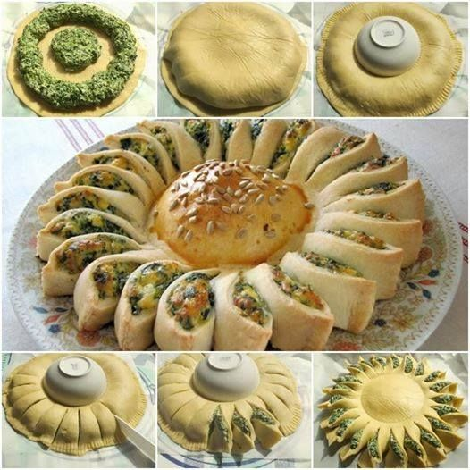 How to DIY Easy Pull Spinach and Cheese Sunflower Pie | www.FabArtDIY.com LIKE Us on Facebook ==> https://www.facebook.com/FabArtDIY