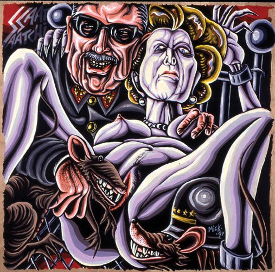 Ratbags  (Pinochet & Thatcher) Acrylic by Mike Hawthorne 1999