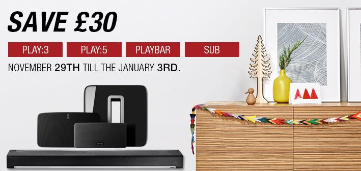 Save £30 off on Sonos PLAY:3, PLAY:5, PLAYBAR and Subwoofer Shop Now: https://goo.gl/Y49VUB
