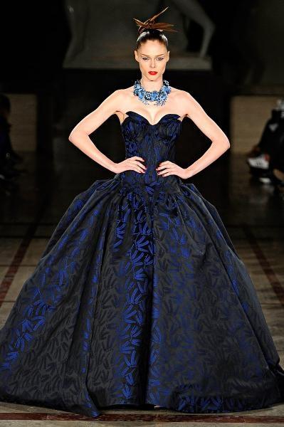 Zac Posen fall 2012. midnight navy blue strapless ball gown evening dress gala