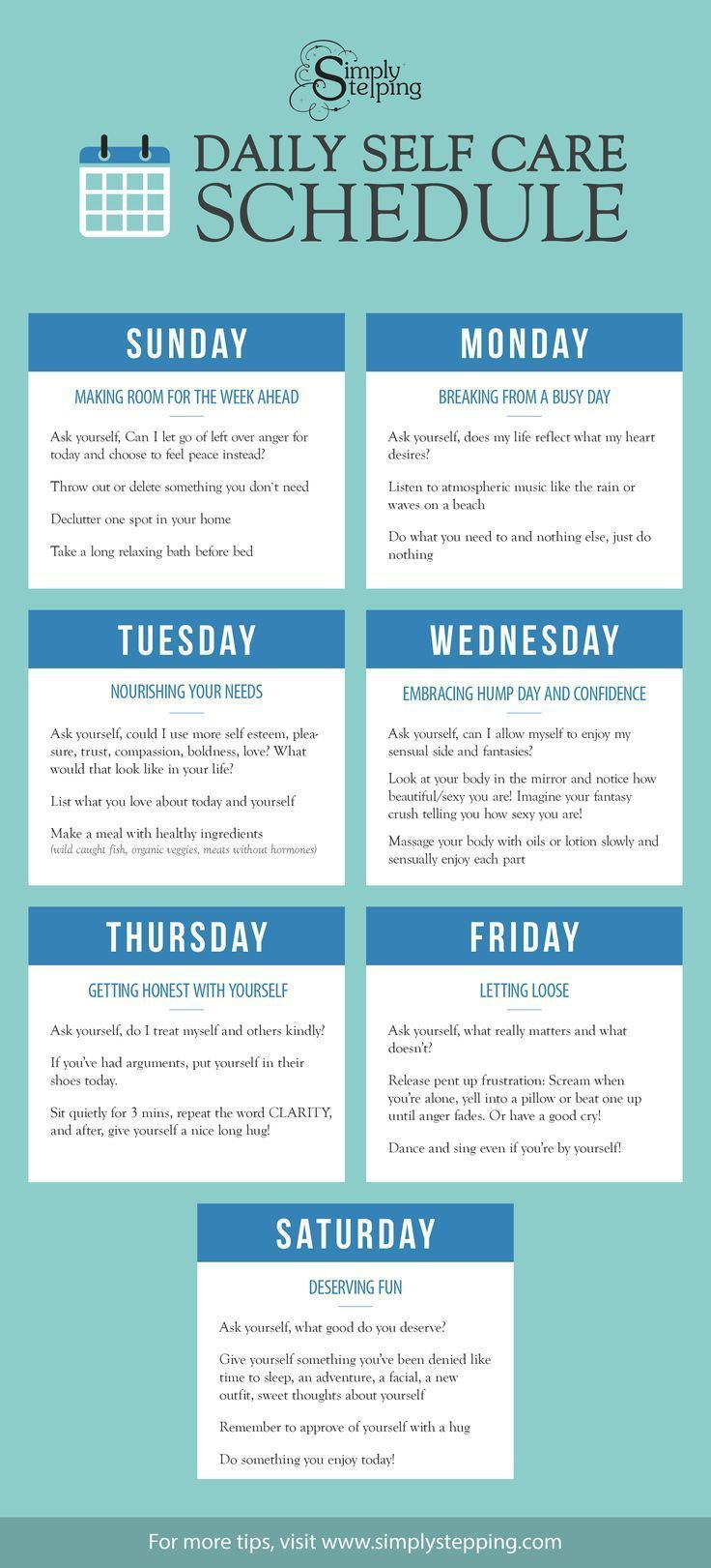 Daily self care schedule for Self care plan template
