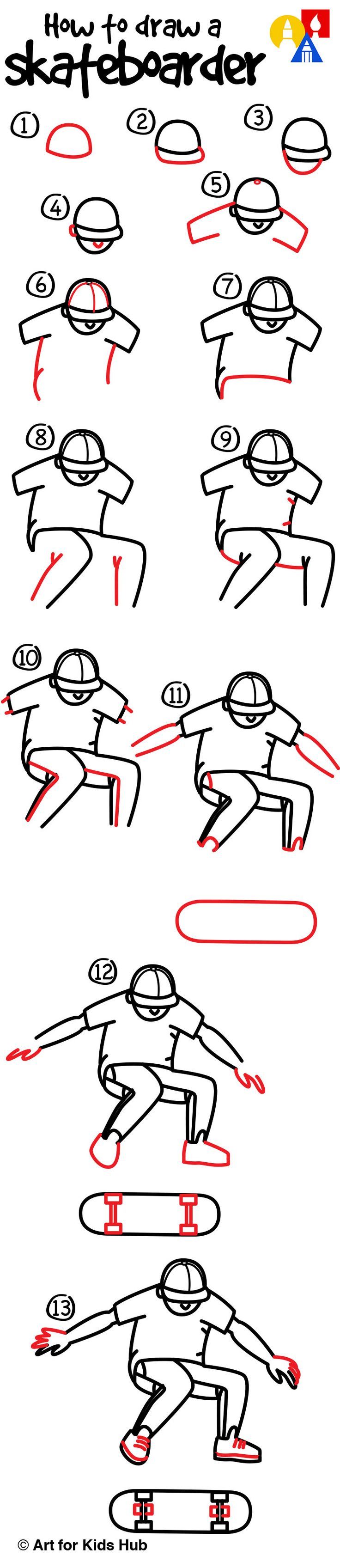 How to draw a skateboarder doing a kickflip!