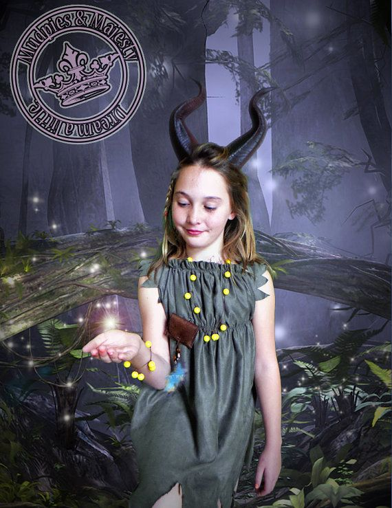 Girls young Maleficent Costume including our realistic Large model horns!  After a great deal of feedback, we took our best selling model back
