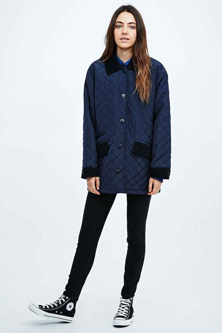 BDG Quilted Jacket in Navy