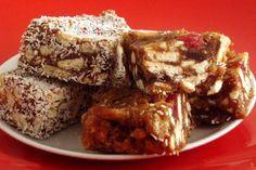 Date Squares   Rainbow Cooking - no bake taste caramel-y so good!