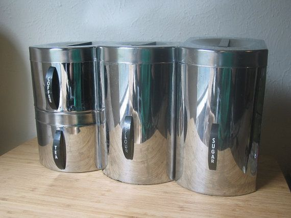Vintage Silver Metal Kitchen Canister Set by VintageClassicWares