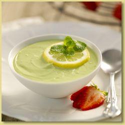 Avocado and Lemon Yoghurt; with cream cheese, avocados, low fat yoghurt, lemon juice, mint and strawberry sauce.