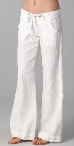 perfect white pants...I like them in linen so that I am consistent with my rumpled up, just out of the clothes hamper look throughout the warmer months!