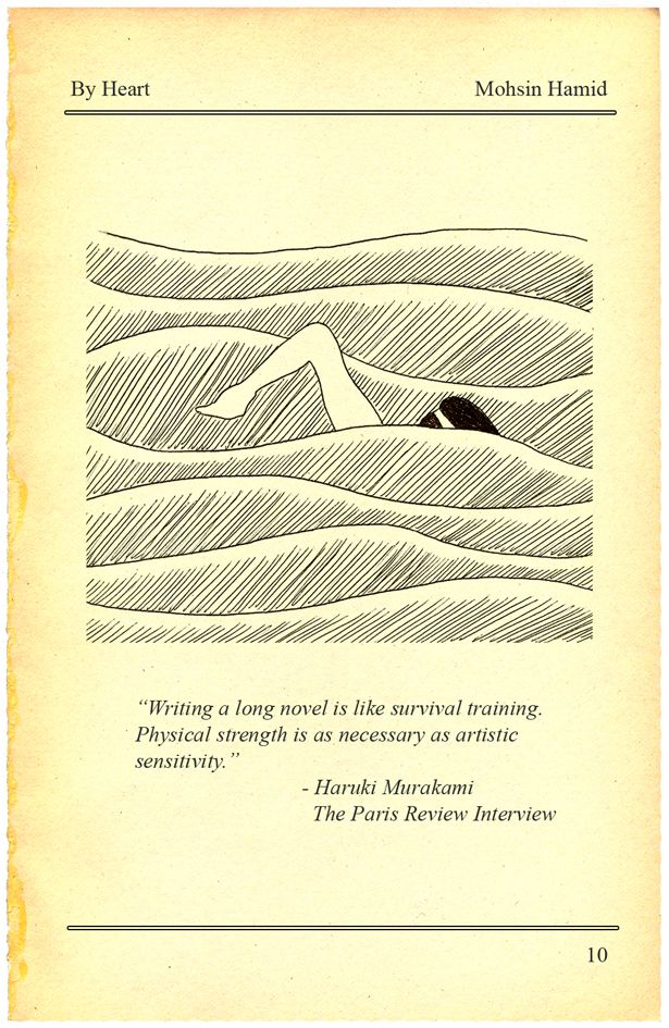"""Writing a long novel is like survival training. Physical strength is as necessary as artistic sensitivity."" - Haruki Murakami // from Mohsin Hamid's 'Get Fit With Haruki Murakami: Why Mohsin Hamid Exercises, Then Writes' in The Atlantic, ᔥ The Paris Review's On the Shelf roundup"