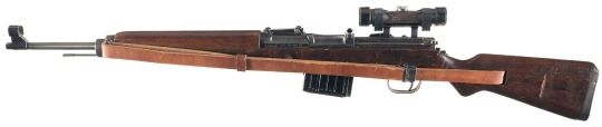 Walther Gewehr 43 sniper rifle    Manufactured by Berlin-Lübecker Maschinenfabrik c.1943-45 - serial number 2753k.  7,92x57mm Mauser 10-round removable box magazine, can be fed with stripper clips, gas-operated semi-automatic fire, ZF4 scope.  Following i