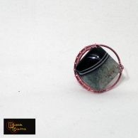 wire wrapped copper ring with large agate stone in shades of green and black | BubbleCrafts | www.facebook.com/bubblecrafts.handmade