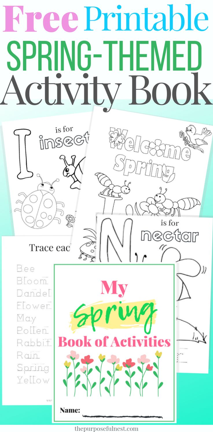 Printable Spring Coloring Pages + Exercise E-book