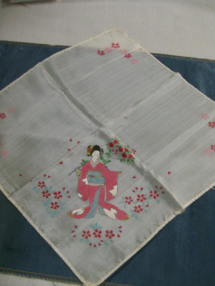 Vintage Geisha Hankerchief Ladies Silk Hankie