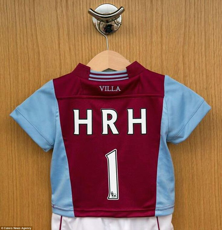 Get 'em started young: The Royal baby has already been sent a present from Prince Williams favourite football team - an Aston Villa FC shirt with HRH 1 printed on the back
