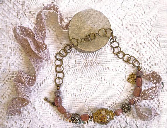 Collana catena e pietra naturale rosa antico e agate, idea regalo donna, idea regalo lei, collana con pietre, collana donna rosa antico