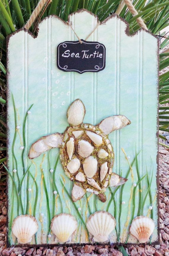 Sea Turtle Art  Mixed Media Beach Collage  by MidorisMyMuse