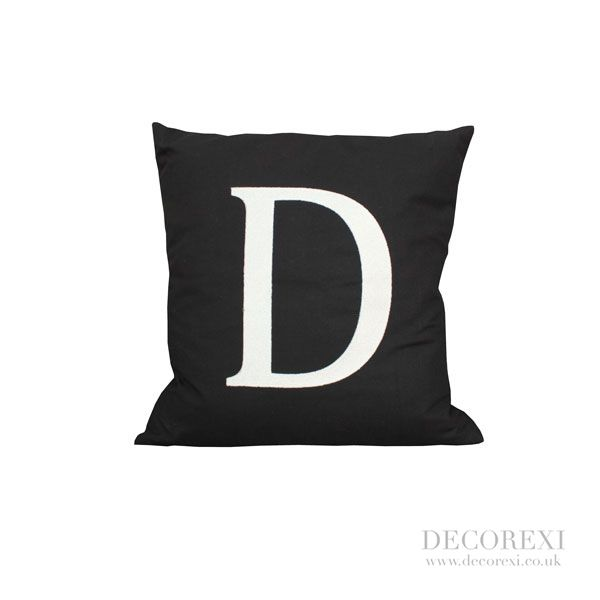 """Black Cushion """"D"""" (or any letter).   Hand stitched letters on a beautiful feather filled black linen cushion. This cushion is an ideal gift and will make a striking addition to your home."""