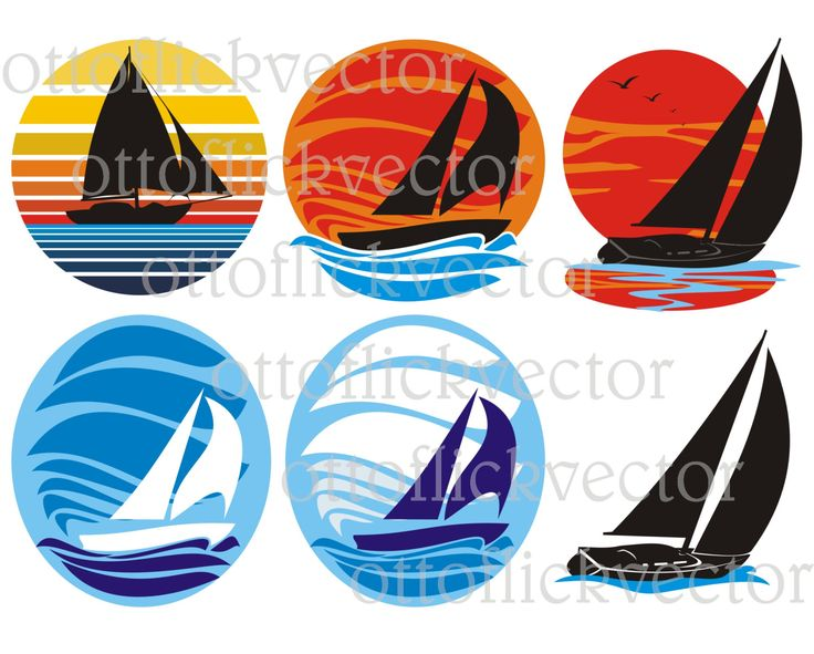 SAILBOAT VECTOR CLIPART, sailing, boat, yacht silhouettes, icon, symbol eps, ai, cdr png, jpg, nautical clipart, sailing ships logo by ottoflickvector on Etsy