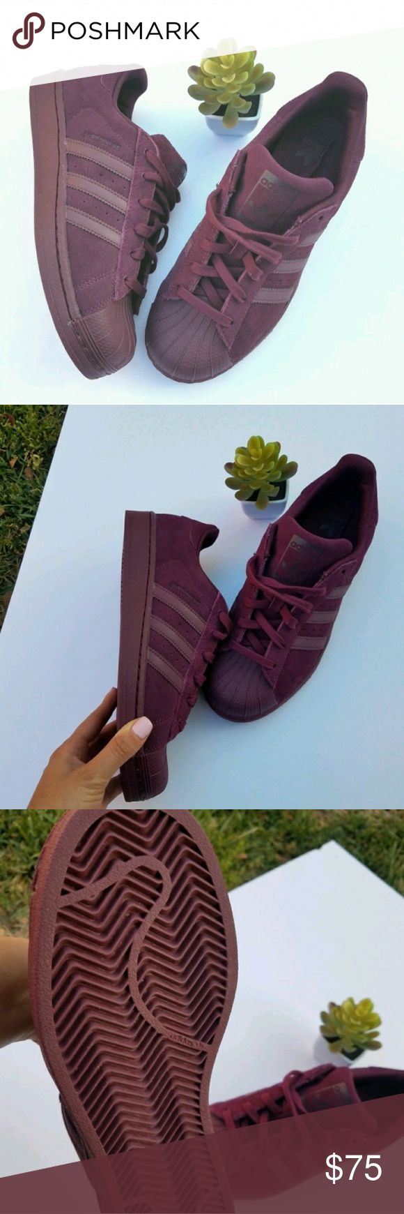 New Adidas Superstar Original-8 A cool all plum superstar original shell toe sneakers. Size 6 youth fits like a 8 in womens. New with box (Box got messed up through delivery). Adidas Shoes Sneakers