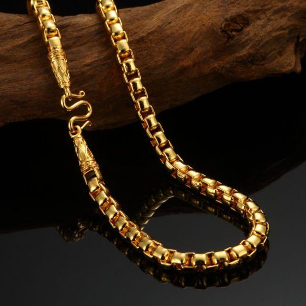 24K Goldkette Ketten gold Halskette massiv Panzerkette Herren 60 cm NEU
