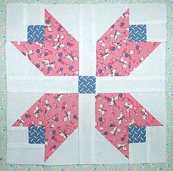 "Free Easy Quilt Block Patterns | Patchwork Tulip Quilt Block Pattern - 9"" Blocks"