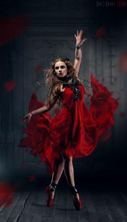 lady in red dress ballerina