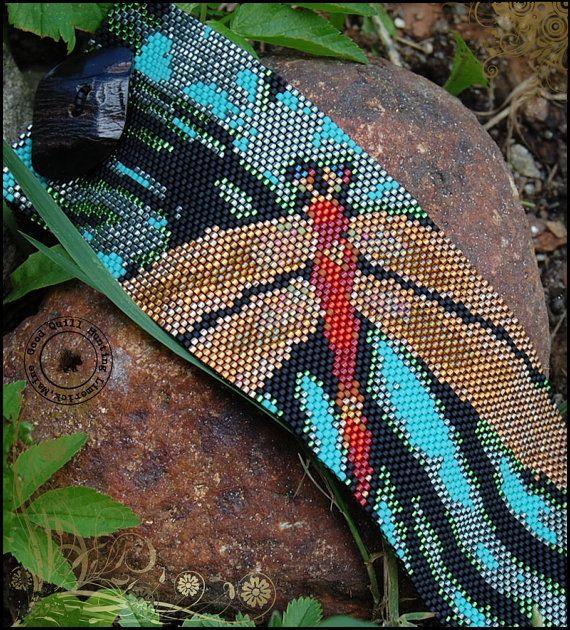 Terracotta Dragonfly Peyote Cuff Pattern by GQHPatternsandKits, $7.00