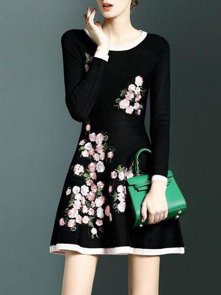 Embroidery Wool Blend Mini Dress