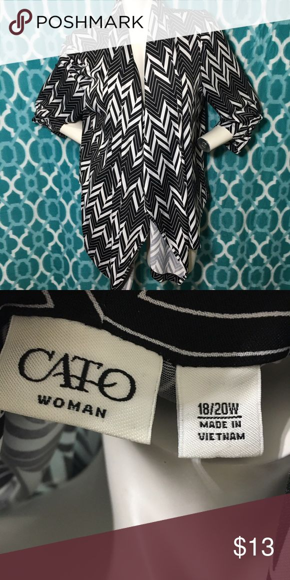 NWOT Cato Plus Size Chevron Black White Cardigan New without tags. No issues. Very stretchy and light weight material, like spandex. Loose fitting with Draped front and loose sleeves. Size 18/20W. Cato Sweaters Cardigans