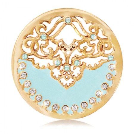 Nikki Lissoni Enamel Blue Velvet Swarovski Coin - Medium Gold Tone