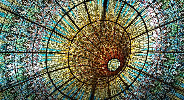 The ceiling of the Palau de la Musica Catalan in Barcelona